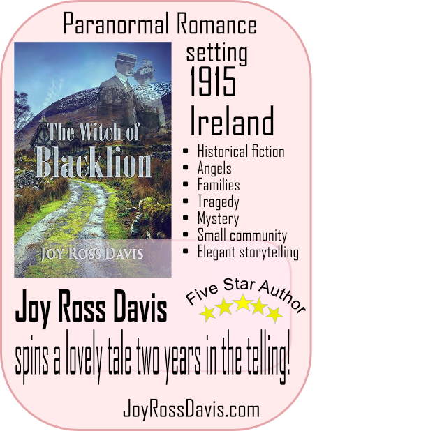 graphic featuring The Witch of Blacklion, Paranormal romance novel. Joy Ross Davis, author.