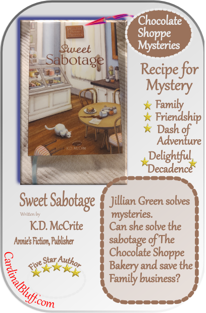 graphic for sweet sabotage, from the Chocolate shoppe mystery series from Annie's fiction. K.D. McCrite author