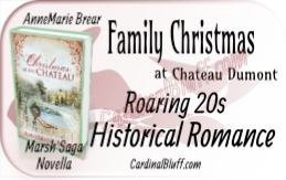 Historical Romance featuring a Christmas story during the times following World War I. AnneMarie Brear, author.  Reviewed at CardinalBluff.com